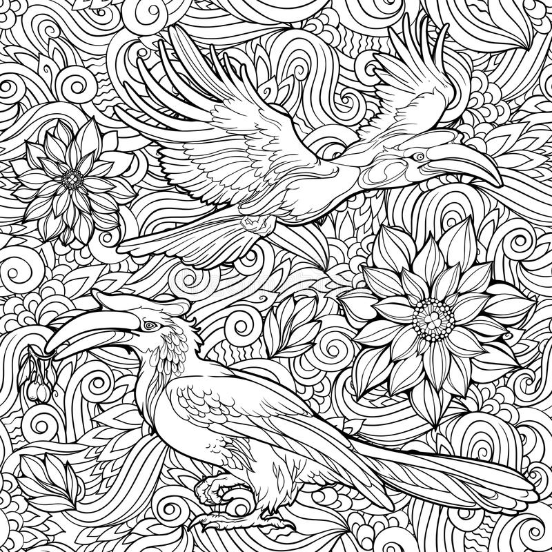 Seamless pattern of flowers and parrots. royalty free illustration