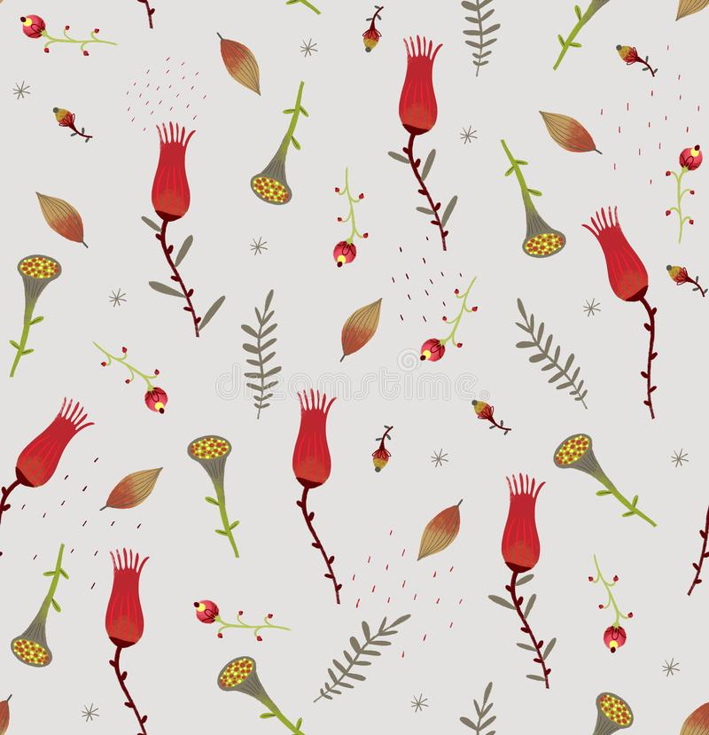 Seamless pattern with flowers and plants royalty free illustration
