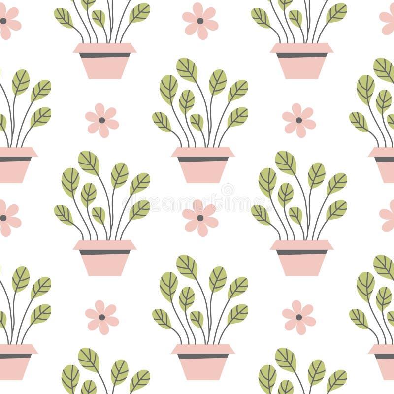 Seamless pattern flowers in pots. stock illustration