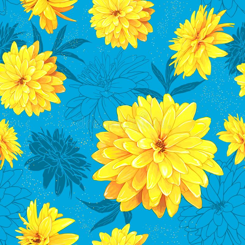 Seamless pattern summer flowers vector illustration