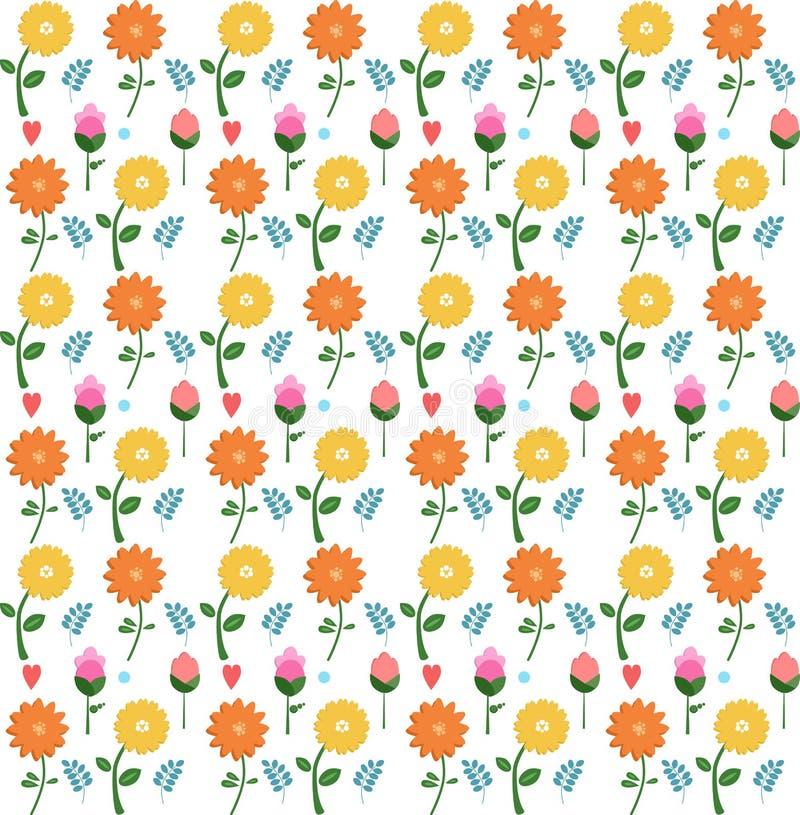 Seamless pattern of flowers stock illustration