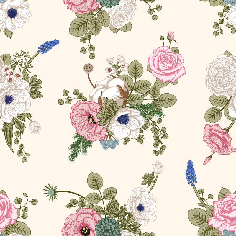 Seamless pattern with flowers. stock illustration