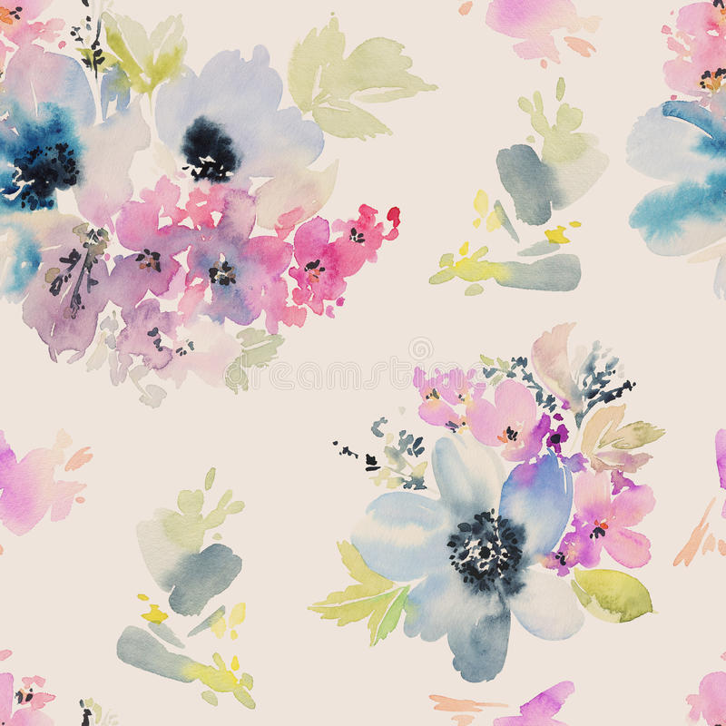 Seamless pattern with flowers watercolor. stock illustration