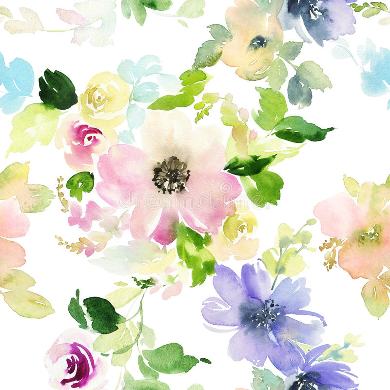 Seamless pattern with flowers watercolor royalty free illustration