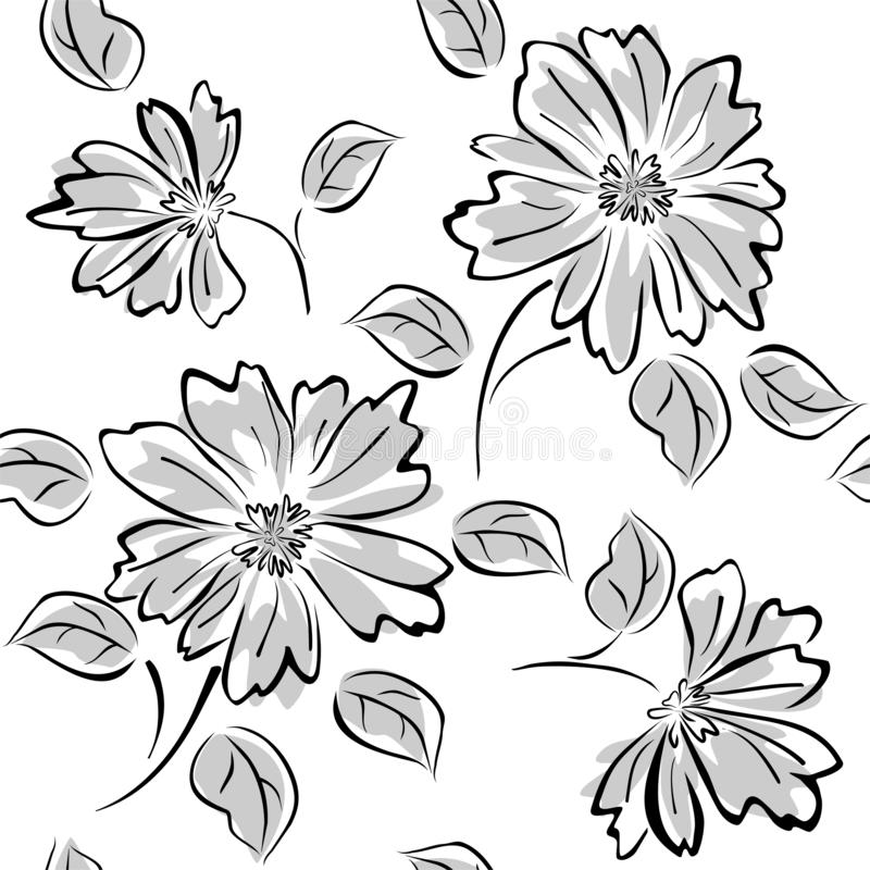 Seamless pattern with flowers on white background royalty free illustration