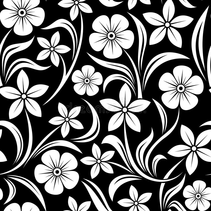 Black Flower Pattern Stock Images: Vector Seamless Pattern With Flowers. Stock Vector