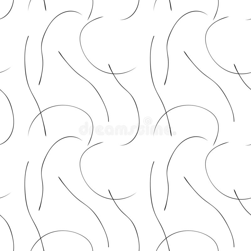 Seamless pattern with flowing wavy lines. Abstract wallpaper with minimalistic desing. Black lines on white backdrop. Modern print royalty free illustration