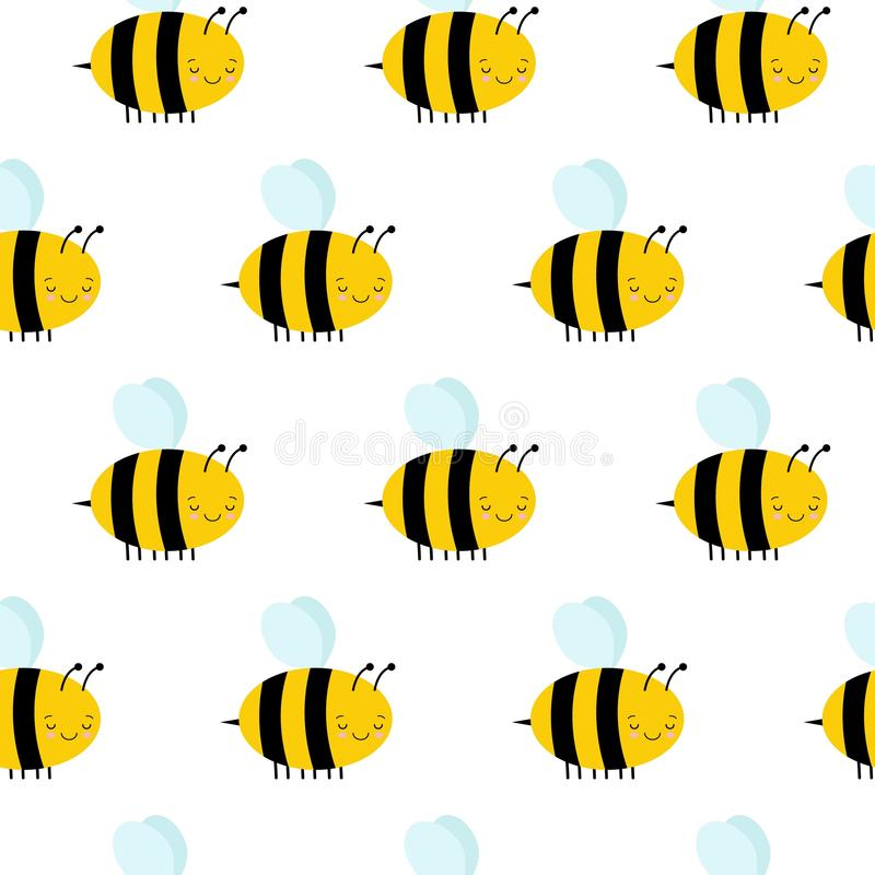 Seamless Pattern with Flying Bees on a White Background royalty free illustration