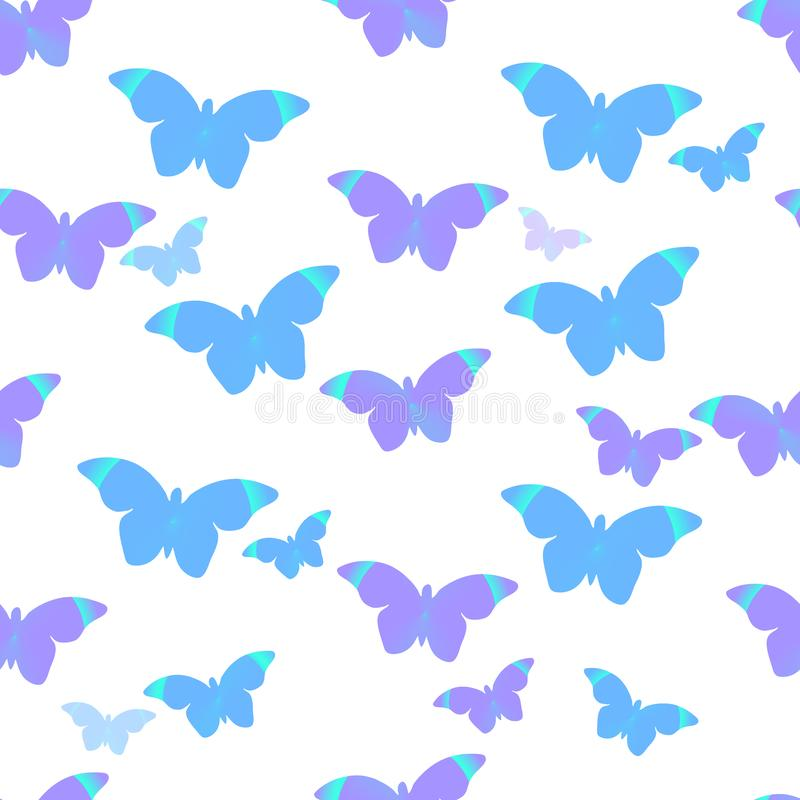 Seamless pattern: flying blue and purple Morpho butterflies on a white background. Vector. royalty free illustration