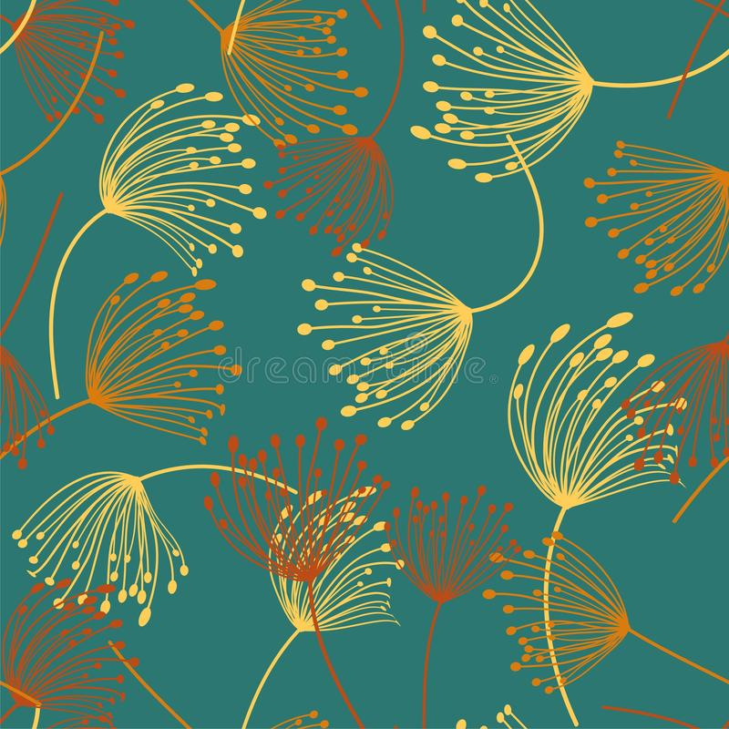 Seamless pattern. Flying of dandelion seeds. Stylish repeating texture. vector vector illustration