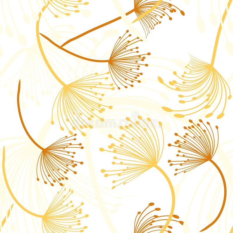 Seamless pattern. Flying of dandelion seeds. Stylish repeating texture. vector royalty free illustration