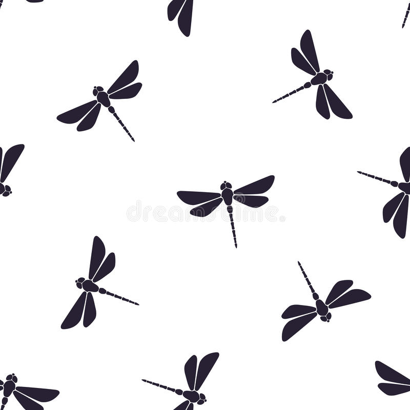 Seamless pattern with flying dragonfly with a straight body. Seamless vector illustration. Pattern with silhouettes of flying dragonfly with a straight body on stock illustration