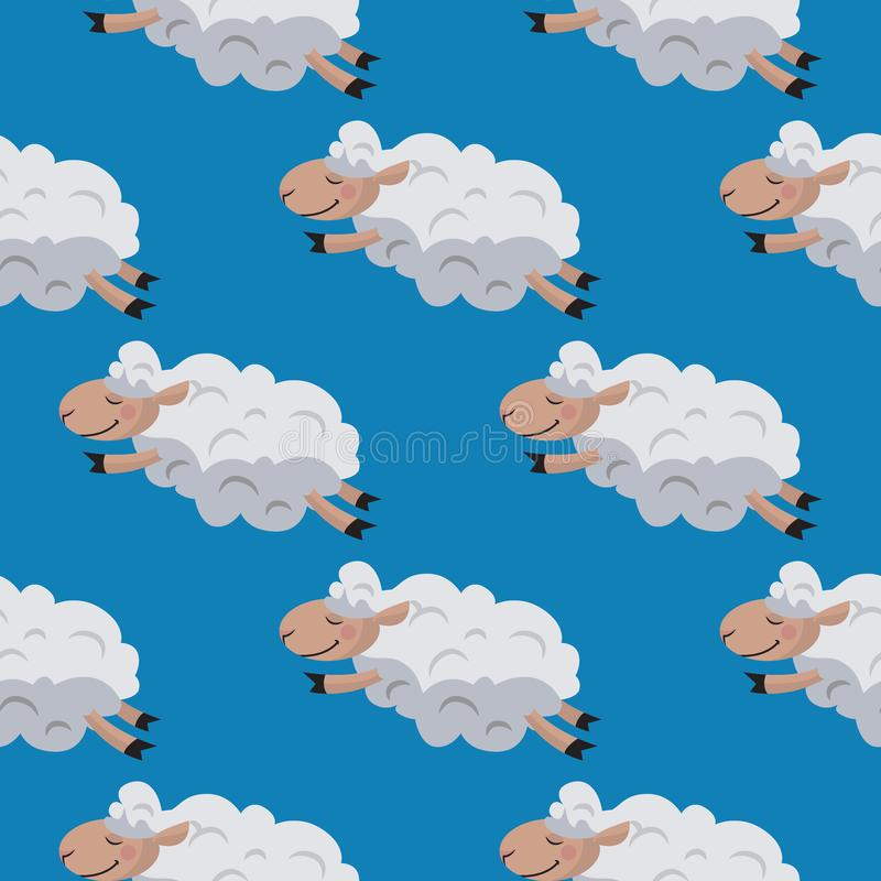 Seamless pattern with flying sheeps. Lamb background stock photography