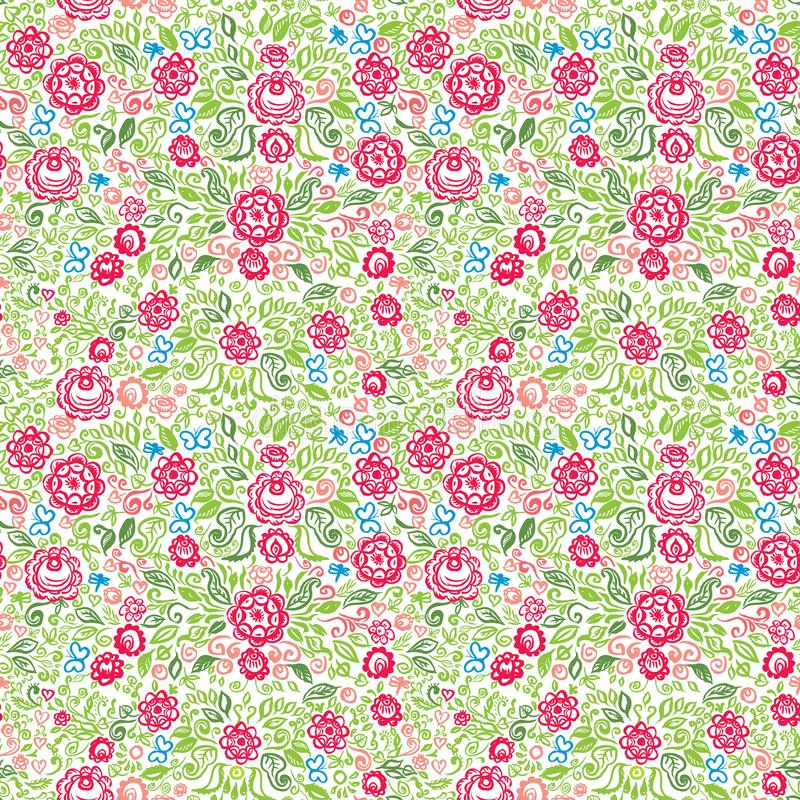 Seamless pattern folk art floral ornament Vintage elegant wedding invitation with summer ethnic flowers Green red blue orange pink royalty free illustration