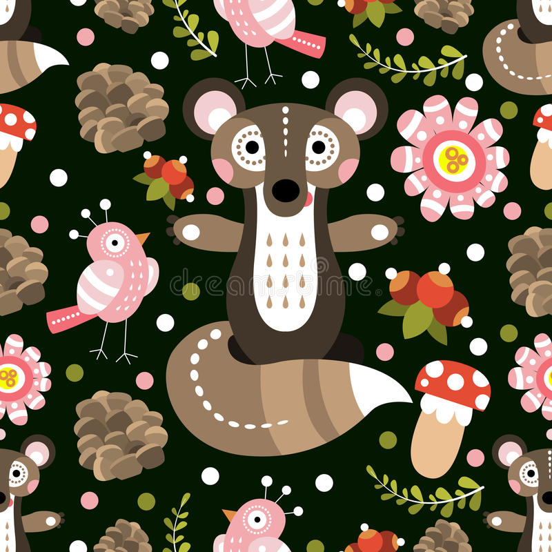 Seamless pattern with forest flora and fauna. Vector illustration for design of wallpaper or fabric. vector illustration