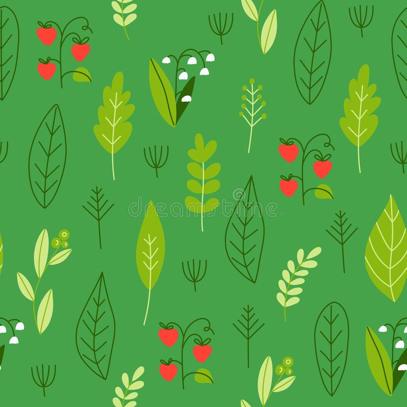 Seamless pattern with forest leaves, berries and flowers. Great for texture greeting cards, fabric and wrapping paper designs. Seamless pattern with forest royalty free illustration