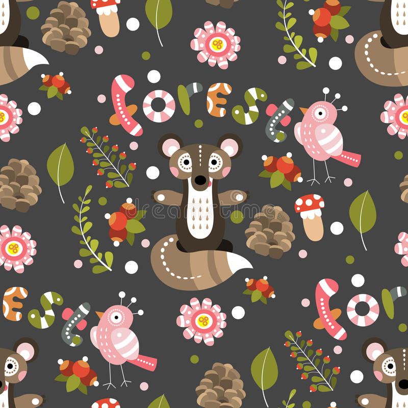 Seamless pattern on a forest theme. Vector illustration for desi vector illustration