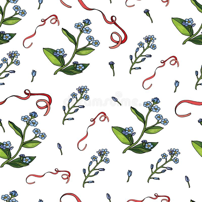 Seamless pattern with forget-me-nots and ribbons stock illustration