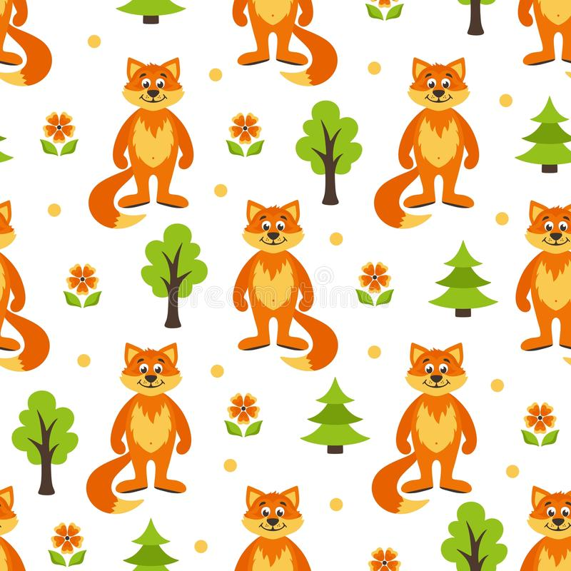 Seamless pattern foxes. Seamless pattern with forest, foxes, trees, trees and orange flowers royalty free illustration