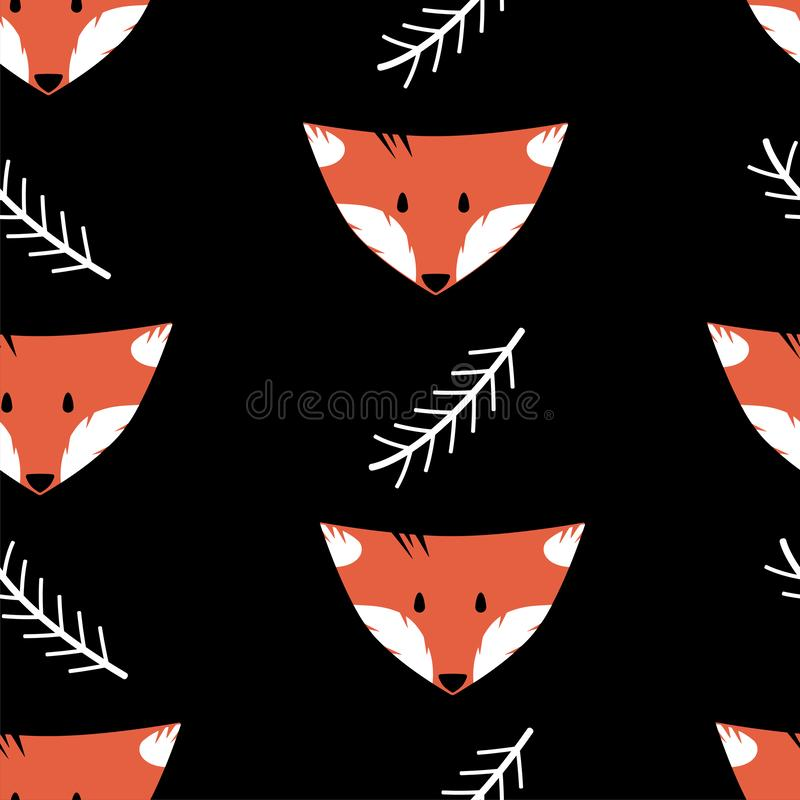 Seamless pattern with foxes and twigs on a black background. In the Scandinavian style royalty free illustration
