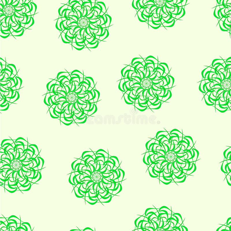 Seamless pattern of fractals and elements of rotation and torsion in shades stock illustration