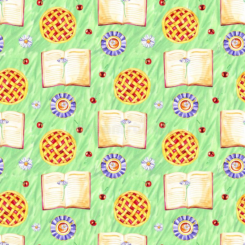 Seamless pattern with fragrant cherry pie and berries. Watercolor illustration. stock illustration