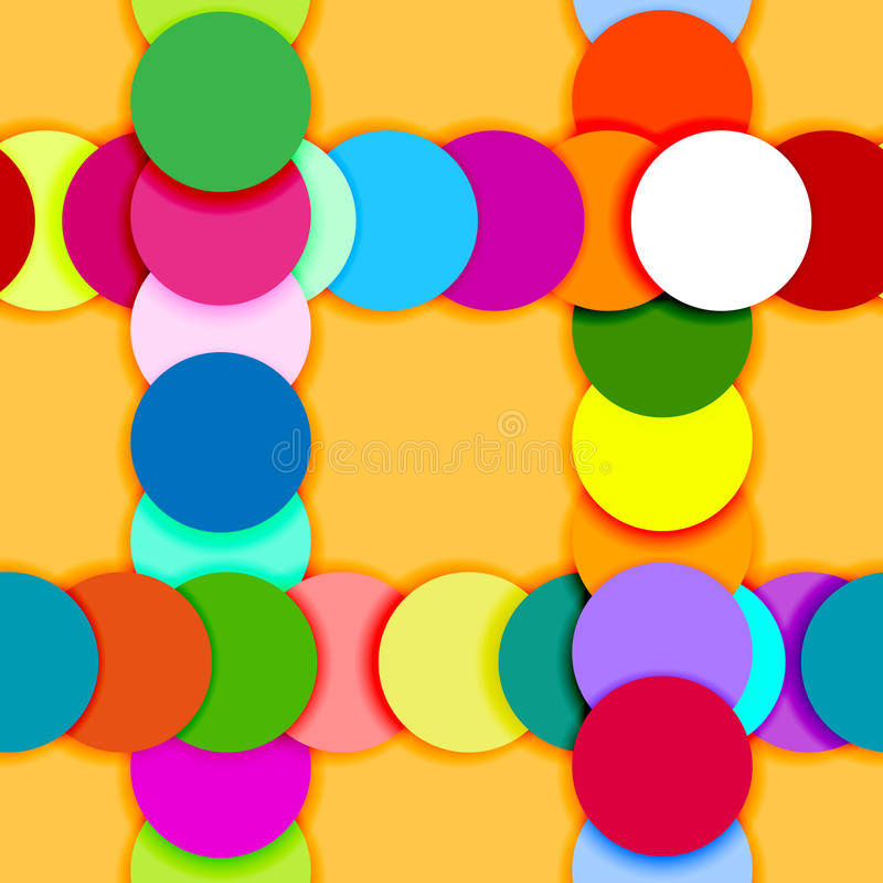 Seamless pattern frame made of color circles stock illustration