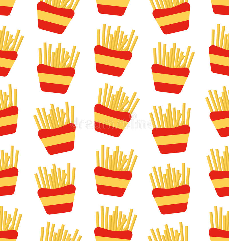 Seamless Pattern of French Fries Boxes of Takeaway. Fast Food Background vector illustration