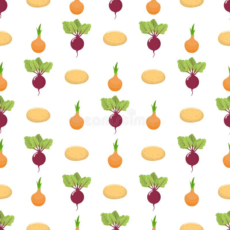 Seamless pattern with fresh beet, onion and potato vegetables. Organic food. Cartoon style. Vector illustration for design, web. Seamless pattern with fresh stock illustration