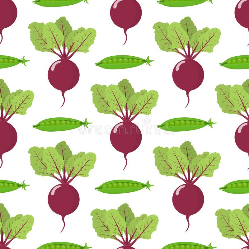 Seamless pattern with fresh beet and pea vegetables. Organic food. Cartoon style. Vector illustration for design, web. Vector. Seamless pattern with fresh beet royalty free illustration