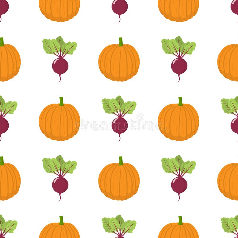 Seamless pattern with fresh beet and pumpkin vegetables. Organic food. Cartoon style. Vector illustration for design, web. Seamless pattern with fresh beet and stock illustration