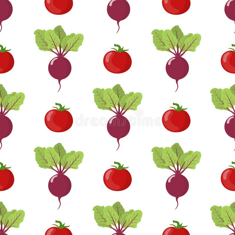Seamless pattern with fresh beet and tomato vegetables. Organic food. Cartoon style. Vector illustration for design, web. Seamless pattern with fresh beet and royalty free illustration