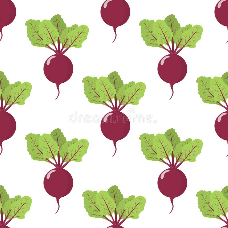 Seamless pattern with fresh beet vegetable. Organic food. Cartoon style. Vector illustration for design, web, wrapping paper. Seamless pattern with fresh beet vector illustration