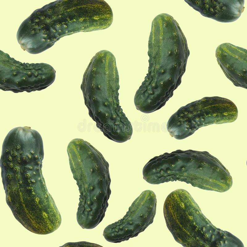 Seamless pattern of fresh green cucumbers, organic food isolated on yellow background stock photos