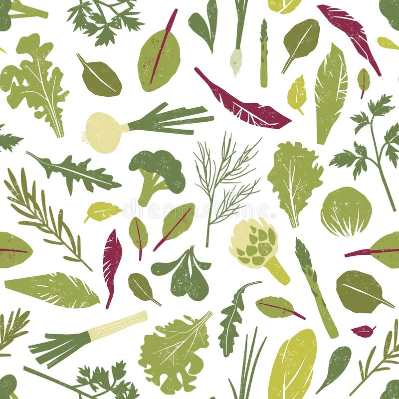 Seamless pattern with fresh green plants, vegetables, salad leaves and herbs on white background. Backdrop with healthy vector illustration