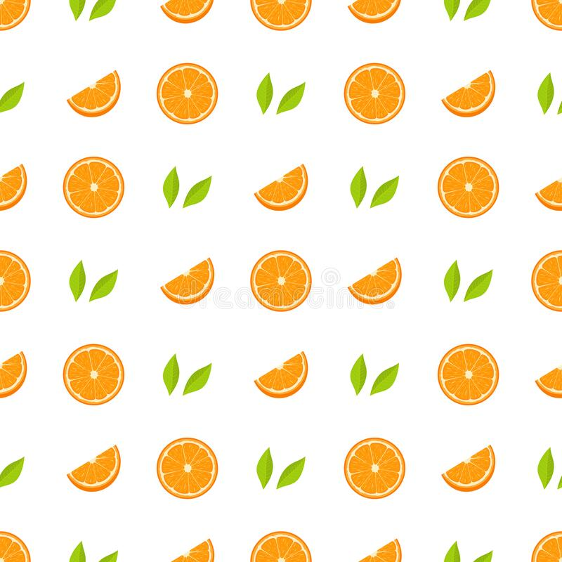 Seamless pattern with fresh half, cut slice of orange fruit and green leaves on white background. Tangerine. Organic fruit. Vector. Illustration for design, web vector illustration