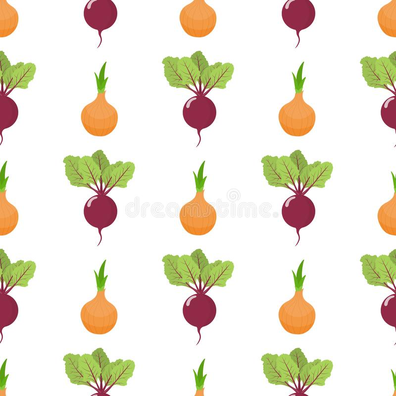 Seamless pattern with fresh onion and beet vegetables. Organic food. Cartoon style. Vector illustration for design, web. Seamless pattern with fresh onion and royalty free illustration