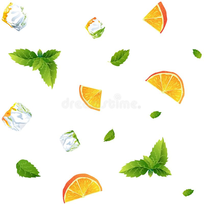 Seamless pattern, fresh orange, mint and Ice cubes vector illustration