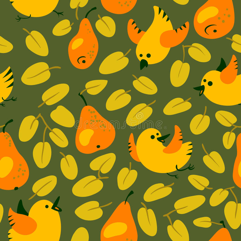 Seamless pattern with fresh orange pears. Harvesting background. With fruits and leaves and flying birds. Vector illustration in simple style vector illustration