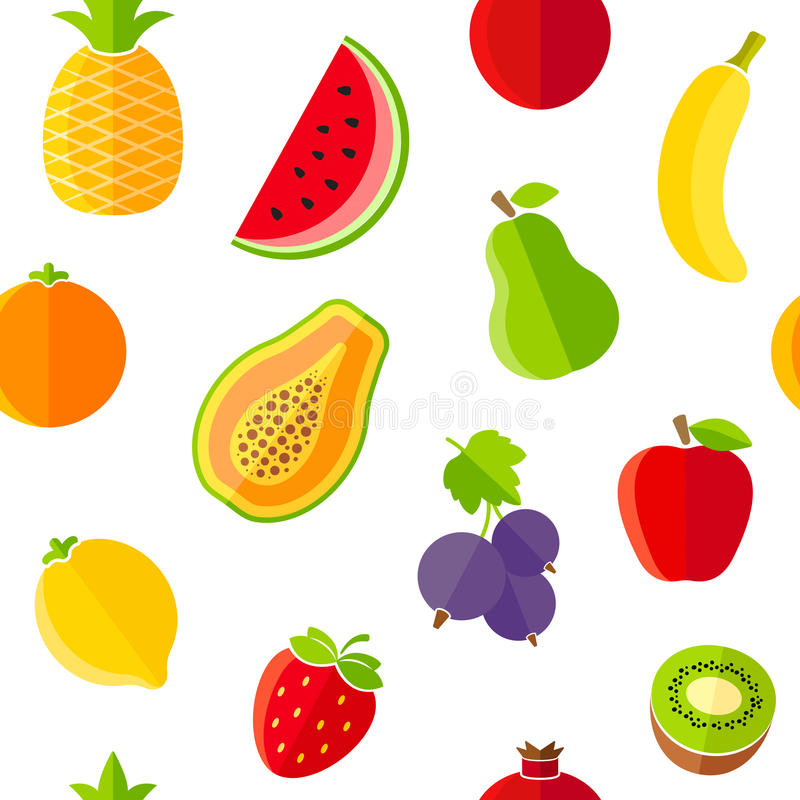 Seamless pattern with fresh organic fruits. The pattern can be repeated or tiled without any visible seams royalty free illustration