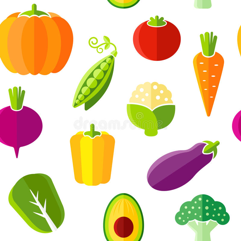 Seamless pattern with fresh organic vegetables. The pattern can be repeated or tiled without any visible seams royalty free illustration