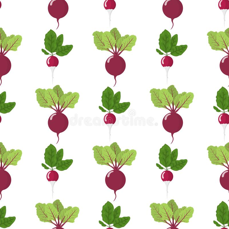 Seamless pattern with fresh radish and beet vegetables. Organic food. Cartoon style. Vector illustration for design, web. Vector. Seamless pattern with fresh stock illustration