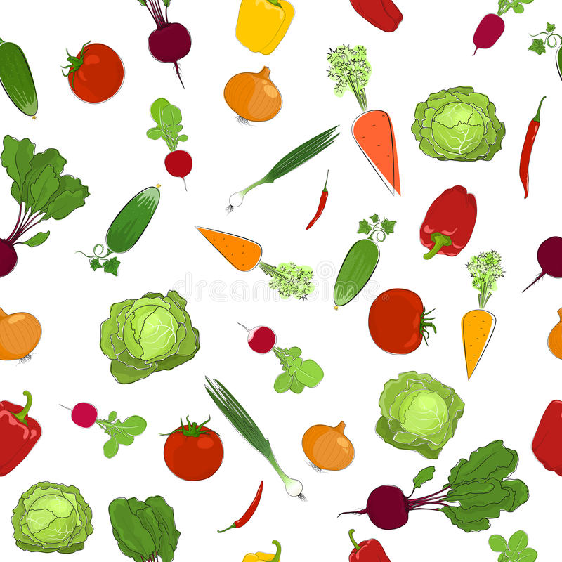 Seamless pattern of fresh raw vegetables. Healthy food, organic food, vector illustration royalty free illustration
