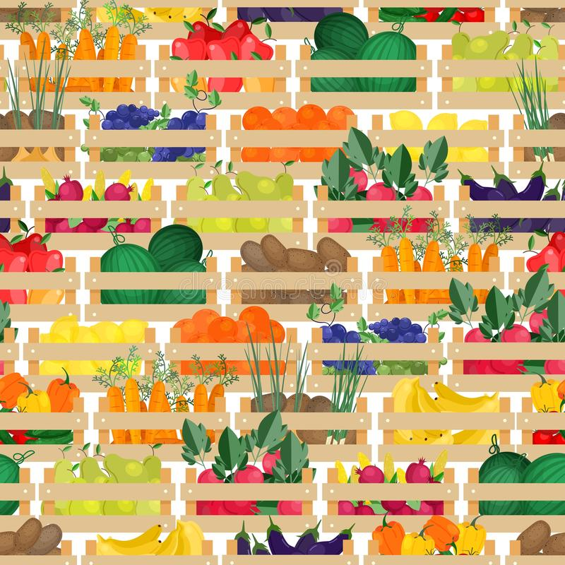 Seamless pattern with fresh ripe organic fruits and vegetables in wooden boxes. Backdrop with harvest or gathered crops stock illustration