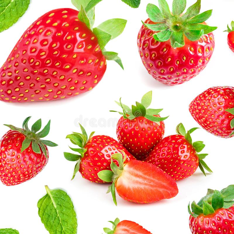 Seamless pattern with fresh Strawberries isolated on white background. Top view. stock image