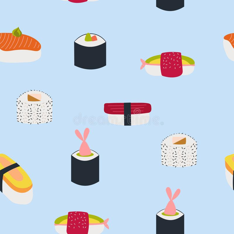 Seamless pattern of fresh sushi on a blue background. stock illustration