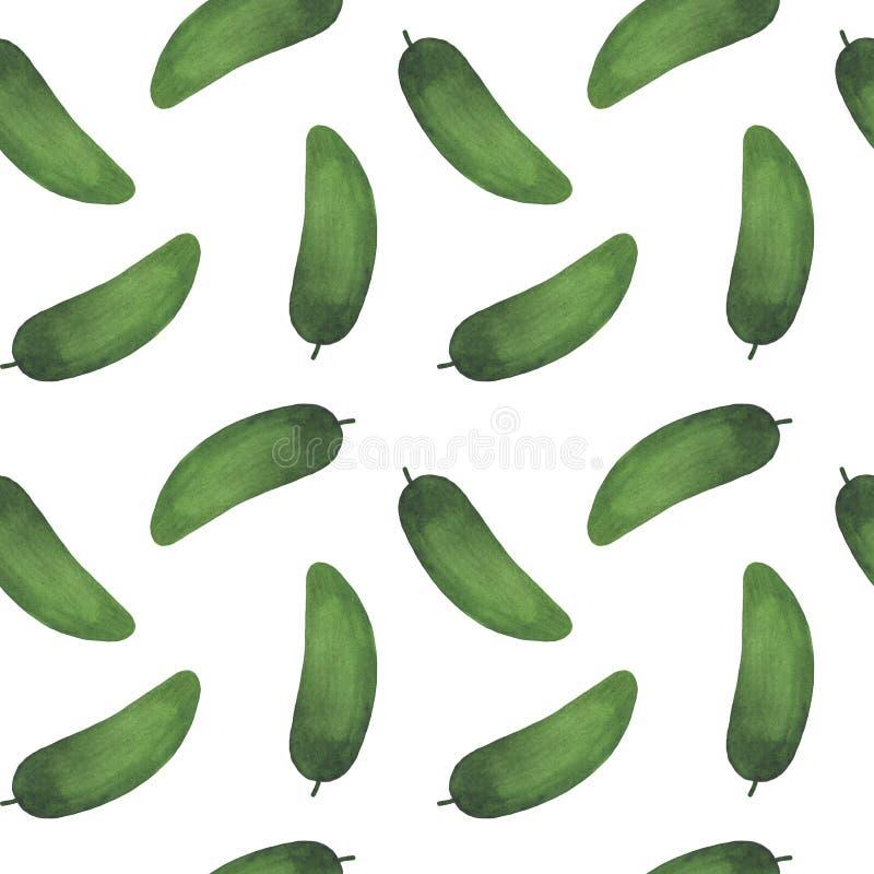 Seamless pattern fresh vegetables cucumbers watercolor illustration vegetarianism cooking ingredients. Illustration  Set of fresh vegetables watercolor vector illustration