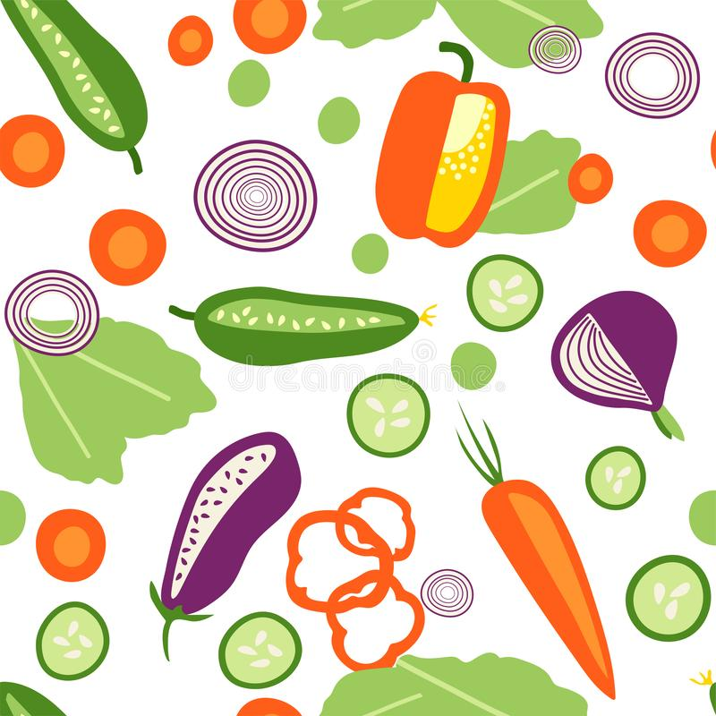 Seamless pattern. Fresh vegetables in flat syle royalty free illustration