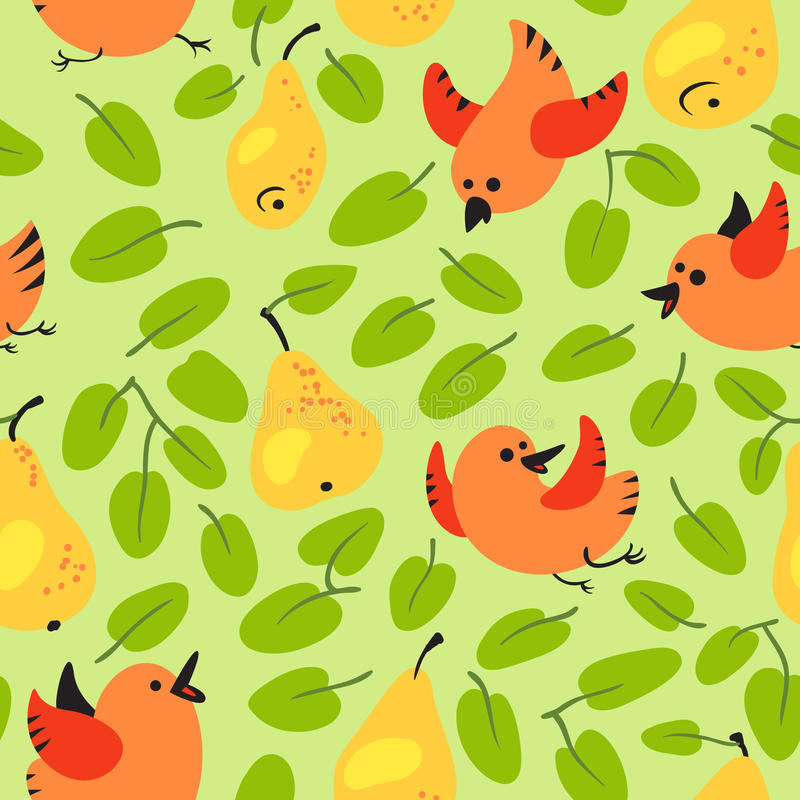 Seamless pattern with fresh yellow pears. Harvesting background. With fruits and leaves and flying birds. Vector illustration in simple style royalty free illustration