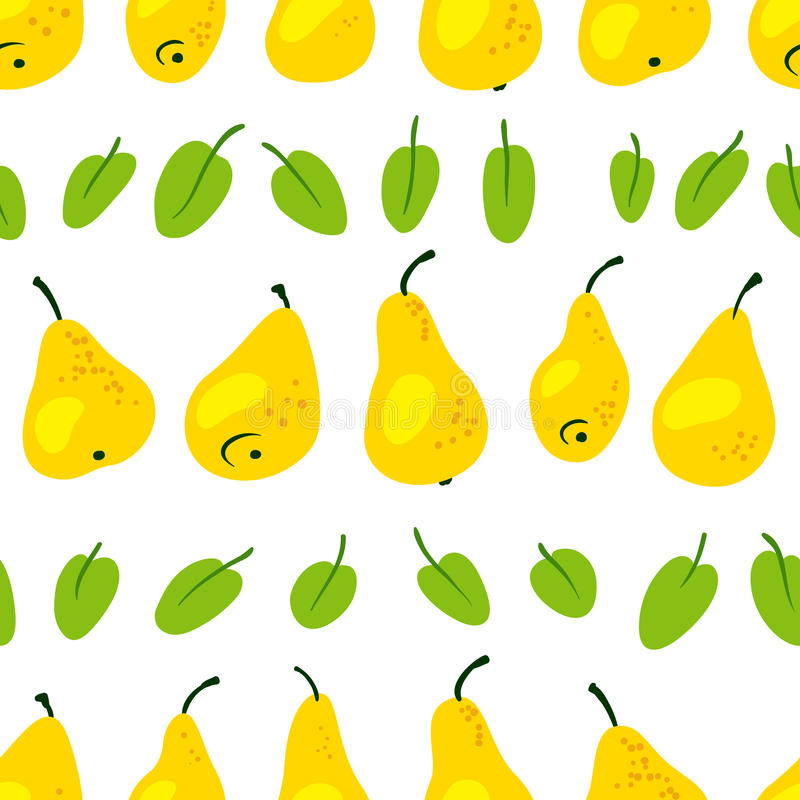 Seamless pattern with fresh yellow pears. Harvesting background. With fruits and leaves. Vector illustration in simple style vector illustration